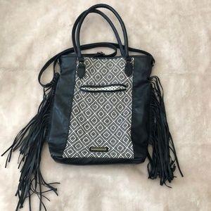 Madden Girl Convertible Black Fringe Purse Handbag